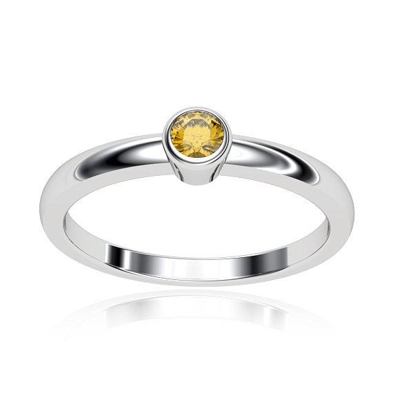 low profile 0 10 carat citrine engagement ring in white gold