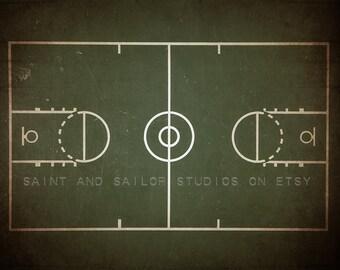Vintage Basketball Court Chalk Clipboard Photo print, Boys Room decor, Boys Nursery Ideas, Sports art, Sport Prints, Man Cave