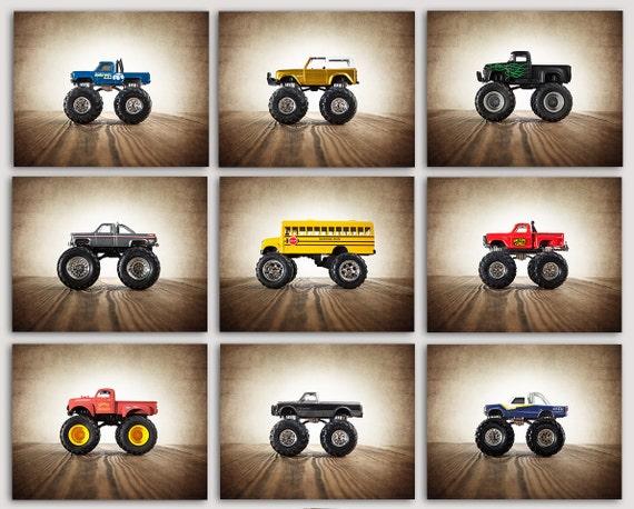 Monster Trucks photo prints set of 9 Nursery Decor by ...