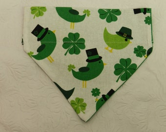 Lucky Leprechaun Doves! Green Four Leaf Clover Lucky Irish St Patricks Theme! Dog Cat Ferret Reversible 2 in 1 Over the Collar Bandana.