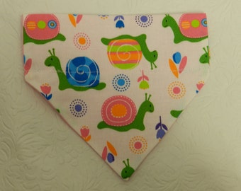 Tango Turtle! Cute Pink Blue Daisy Flowers & Snail Design. Dog Cat Ferret Reversible 2 in 1 Over the Collar Bandana. Custom Made Items!