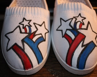 July 4th Independence Day Patriotic Hand painted Shoes Veteran Memorial Labor Day  any size Upgrade to Vans Converse   Toms 45.00