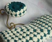 Crochet supersoft baby blanket and beret - cream and green - baby - christening gift - baby afghan