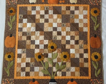 Pumpkin Pie, A Pattern to Make a 50 x 50 Inch Cotton and Wool Applique Quilt