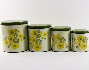 Set of Four Vintage Tin Canisters, Mod Flower Design