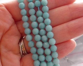 Gorgeous minty green peruvian amazonite faceted rounds beads 5.5-6mm 1/2 strand