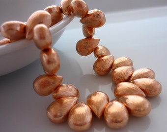 Rose gold vermeil over brushed copper teardrop beads 12.5mm x 8mm 1 pair