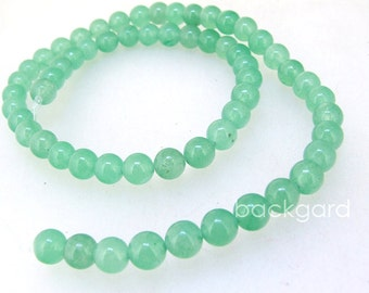 """Charm Candy 6mm Round Young Green Jade  Gemstone Beads Round Green Jade Beads Full Strand 15"""" in length"""