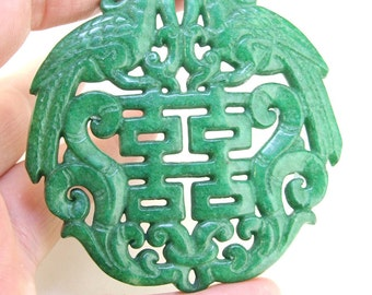 Double Face 66mm Carved Green Jade Rare Ancient Sacred Animal Old  Phoenix Carved Jade Amulet Talisman Chinese Jade Carved Pendant Jade Bead