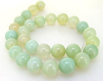 Charm Round 14mm Newest Clear Green Jade Gemstone Beads One strand 15""