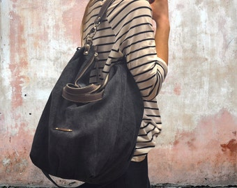 Handmade Canvas Bag ,shoulder bag ,Messenger, Handbag with leather details, in blue-grey color, named Leta MADE TO ORDER