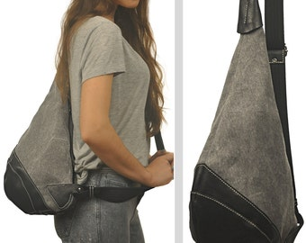 Handmade  Canvas crossbody Sling bag in ash Grey with black leather details, named Korina MADE TO ORDER