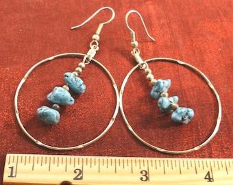 Sale - Dangle Earrings Jewelry Turquoise Nugget Silver Earrings ER60