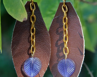 Vinyl Leaf with Glass Beads Dangle Earrings