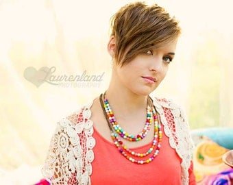 Bright Cheery Neon Spring Colors Czech Glass Beaded Necklace. A gorgeous selection of bright beads to enhance any outfit. Can Customize