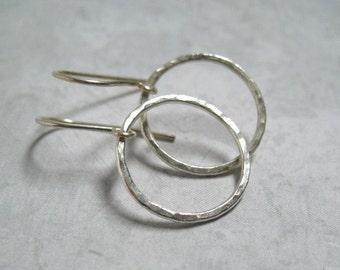 Hoop Earrings Silver Hammered Hoops Circle Earrings Handmade Jewelry