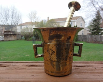 Antique Mortar and Pestle solid brass