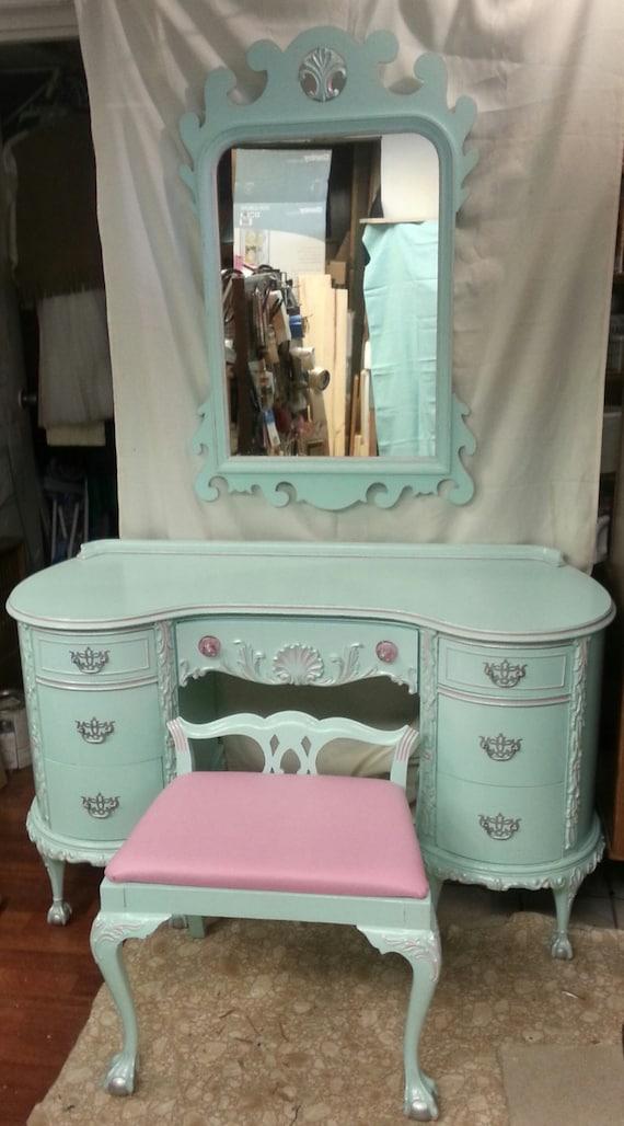 ornate vanity table ornate vanity dressing table mirror in duck egg with drawer antique. Black Bedroom Furniture Sets. Home Design Ideas