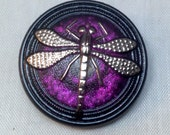 Hand Painted Czech Glass Purple Dragonfly Button