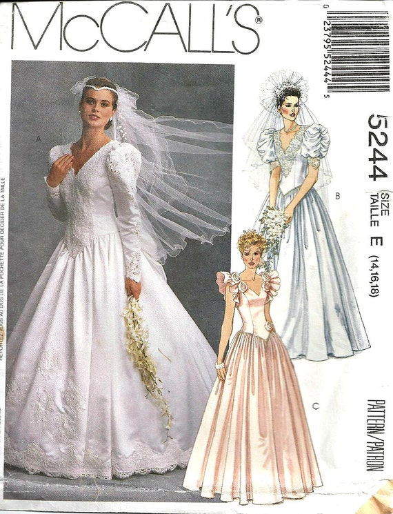 Wedding dress pattern mccall 39 s 5244 vintage 1990 39 s for Wedding dress patterns mccalls