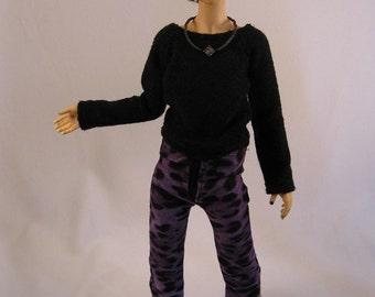 Slim MSD Boy Black/Purple Leopard Print Pants CLEARANCE Price