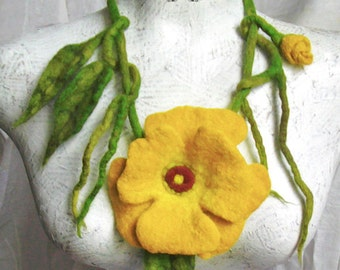 Yellow rose flower necklace hand felted wild rose felt necklace