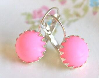 Pink Round Lever Back  Drop Dangle Earrings - Princess Crown, Wedding, Bridal, Bridesmaid,