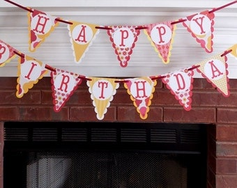Happy Birthday  Banner READY To SHIP red yellow orange patterns on pennant panels