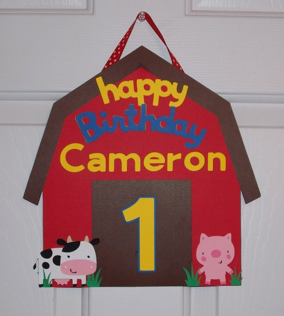 "Farm Door Sign Birthday Sign Barn Door Sign Barnyard Bash Birthday Decoration Down on the Farm Old MacDonald 1st Birthday ""happy birthday"""