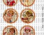 Vintage Shabby Chic Valentine Cherub, cupid Focals  tags Ornaments  Digital Collage sheet Printable
