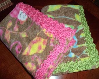 Baby Blanket Monkey Fleece with Crochet Edge