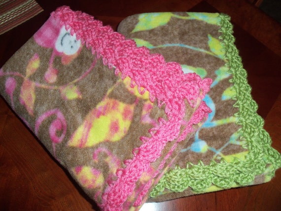 Crocheting Edges On Fleece Blankets : Baby Blanket Monkey Fleece with Crochet Edge by mariahcreations