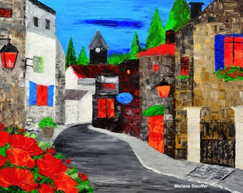 """old village old town evenings original oil painting on canvas large 24x36"""" by Mariana Stauffer Malorcka"""
