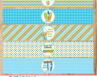 Surf Theme Water Bottle Labels- Surfboard, Beach, Van, Birthday Party, Beach Party-Printable file
