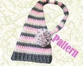 INSTANT DOWNLOAD Pixie Elf Pom Pom Hat Crochet Pattern