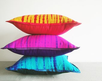 Shibori Tie Dye Colorful Pillows , Shibori Cushion Covers , Decorative Pillow, Tie Dye Throw Pillow , Shibori Pillow