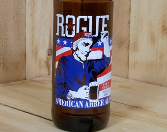 Upcycled Rogue American Pale Ale Pint Glass made from a beer bottle