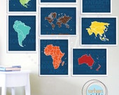 Continents Wall Art Nursery, Blue Continents, Set of Eight, 8.5X11 Inches, Playroom decor, Baby Gift, Nursery Decor, Boys Room