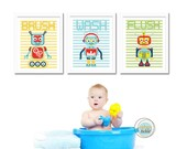 Bathroom Prints for kids, Set of 3,  Robots, 8.5X11 Inches, Brush, Flush, Wash, Typography, Wall Art, Holiday Gift