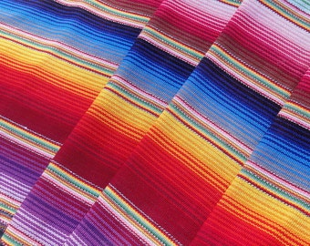 Guatemalan Hand Woven Fabric in Varigated Bright Stripes