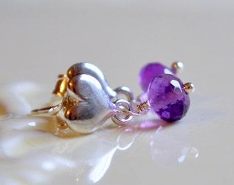 Child's Earrings, Genuine Amethyst, AAA Gemstone, Children, Sterling Silver Heart Ear Posts, Wire Wrapped Jewelry, February Birthstone