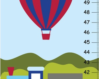 Transportation Canvas Growth Chart -Boat,Train Air balloon and Airplane