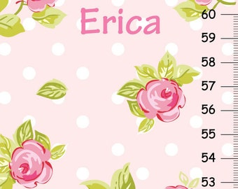 Personalized Roses Growth Chart, Pink Floral Growth Chart with Polka Dots