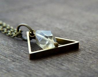 Triange Necklace - Citrine Necklace - Geometric Necklace - Brass and Citrine Necklace - Modern Geometric Jewelry