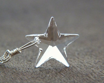 Crystal Star Necklace - Swarovski Sterling Silver Necklace - Celestial Necklace - Christmas Gift - Celestial Jewelry