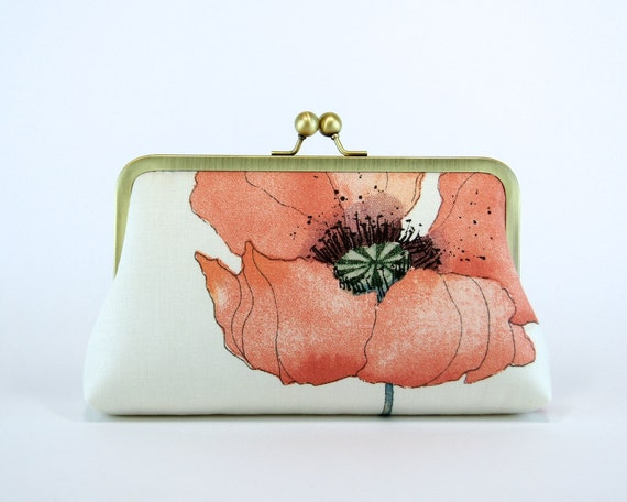Romantic Poppy in Peach, Bridesmaid Clutch  With Silk Lining, Wedding clutch