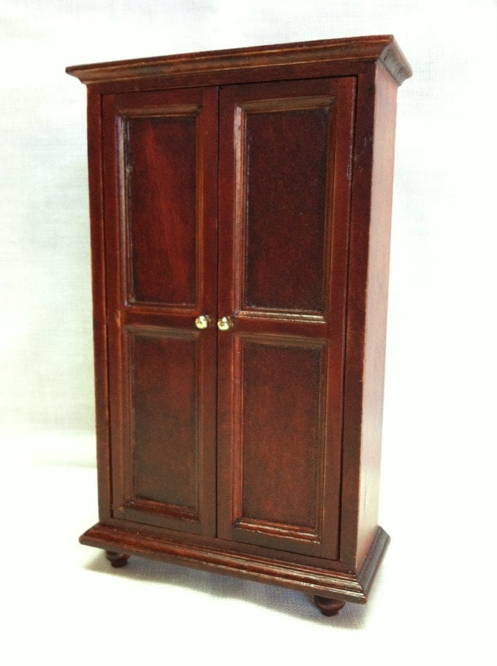 Vintage Wood Wardrobe Cabinet Dollhouse Furniture By