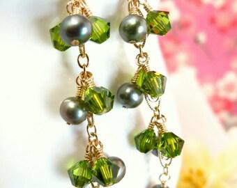 Green Pearl Drop Swarovski Peridot Bicone Bead Gold Dangle Earrings - Green Pearl Chandelier Earrings - Green Pearl Gold Dangle Earrings