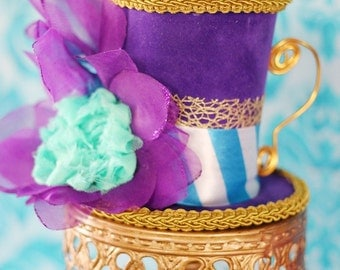 Purple, Gold and Aqua Teacup Mini Top Hat