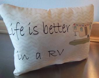 RV throw pillow, 5th wheel camper cushion, gift pillow, camper pillows, camping pillow, retirement gift, kitsch recreational vehicle decor